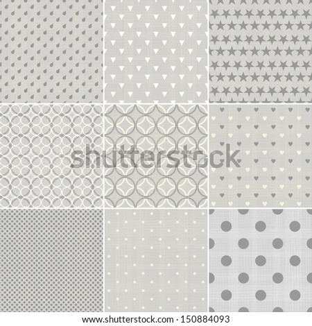 set of black and white polka dot seamless patterns - stock vector