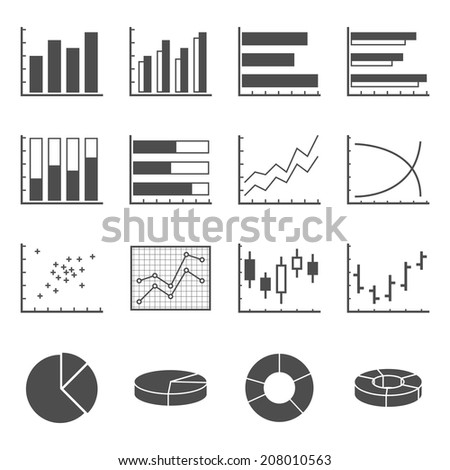 set of black and white silhouette icons of graphs, charts and diagrams - stock vector