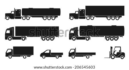 set of black and white silhouette icons of trucks - stock vector