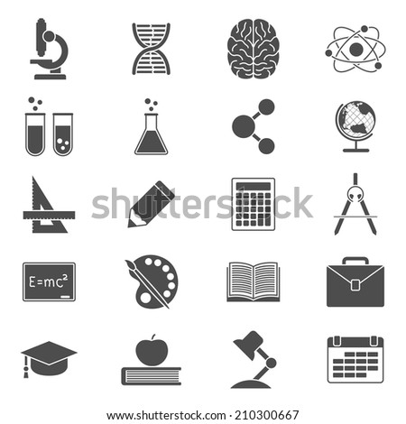 set of black and white silhouette icons on school, science, study, education and knowledge theme - stock vector