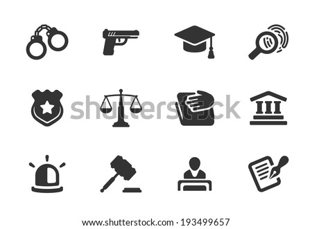 Set of black and white silhouette justice and police icons with a badge  handcuffs  court  judge  gavel  lawyer  gun  mortarboard hat  law book  scales  light or siren  and an investigation - stock vector