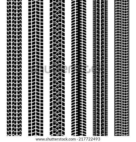 Set of black and white tire tracks or prints left in dirt  mud or snow by the treads on the tyres of vehicle or machine  straight seamless vector patterns - stock vector
