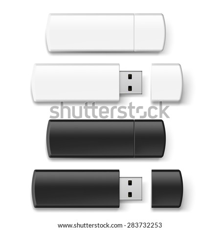 Set of black and white USB flash drive isolated on white background - stock vector