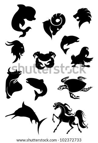 Set of black animals silhouettes for design, such logo. Jpeg version also available in gallery - stock vector