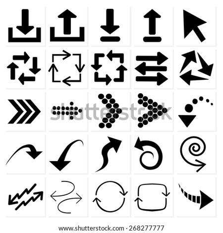 set of black arrows - stock vector