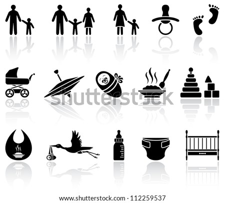Set of black baby icons on white background, illustration - stock vector
