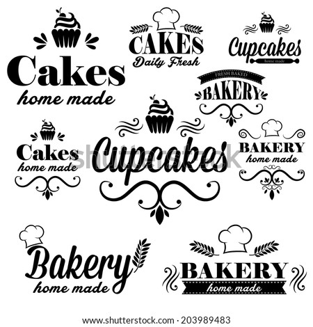 Set of black bakery logos - stock vector