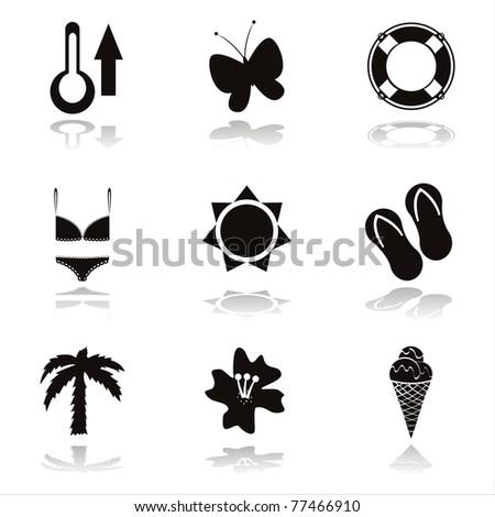 set of 9 black beach icons - stock vector