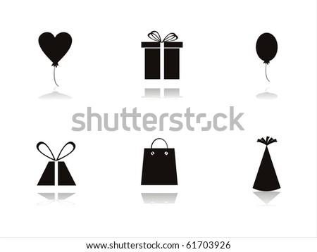set of 6 black birthday icons - stock vector
