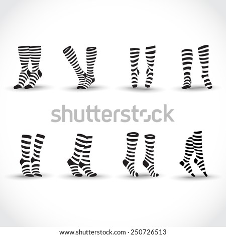 Set of black black and white striped socks - stock vector