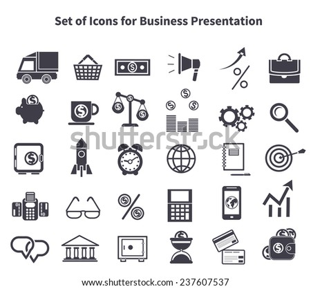 Set of black business icons. Items such as car, delivery, bag, shopping cart, basket, money, dollar, megaphone arrow percent briefcase pig moneybox on white background - stock vector