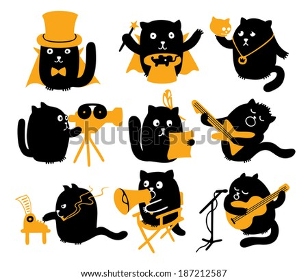 Set Of Black Cats. Creative Professions - stock vector