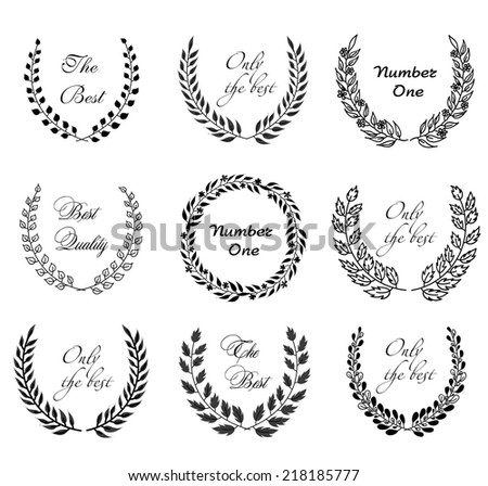 Set of black circular laurel floral wreaths depicting an award achievement heraldry nobility, hand drawing vector illustration - stock vector