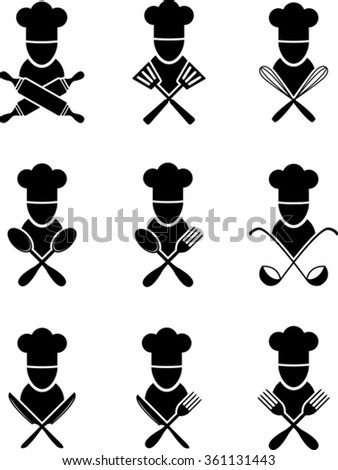 Set of black cooking icons - stock vector