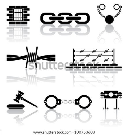 Set of black crime icons, illustration - stock vector