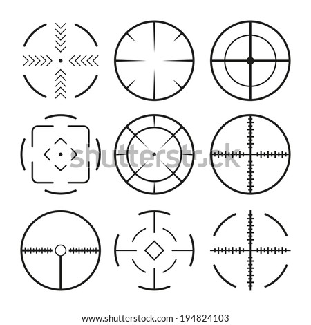 Set of black crosshairs icons. Isolated on white - stock vector