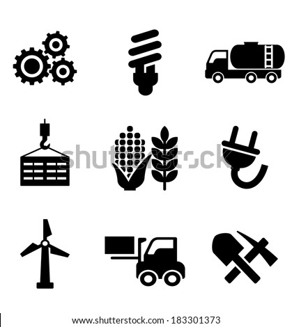 Set of black energy and industry icons logo depicting machinery, electricity, mining, oil, wind turbine, plug, forklift, agriculture and construction - stock vector