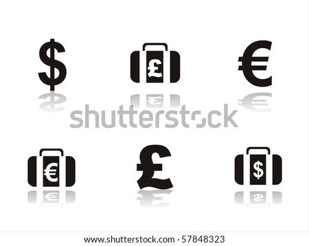set of 6 black finance icons - stock vector