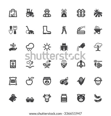 Set of black flat icons about agriculture and livestock - stock vector