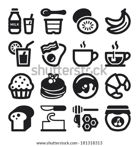 Set of black flat icons about breakfast. - stock vector