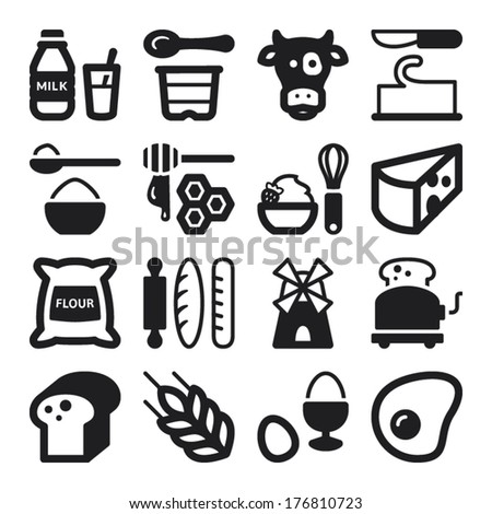 Set of black flat icons about dairy egg bread and sugar - stock vector