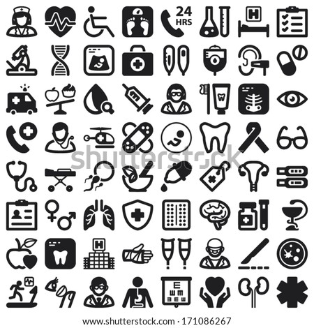 Set of black flat icons about health - stock vector