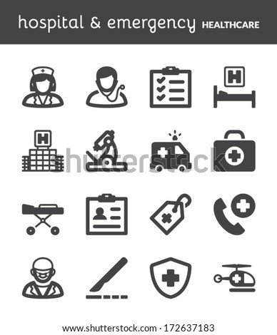 Set of black flat icons about healthcare. Hospital and emergency. - stock vector