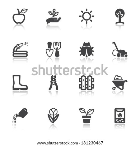 Set of black flat icons with reflection about gardening - stock vector