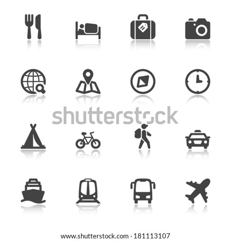 Set of black flat icons with reflection about travel - stock vector