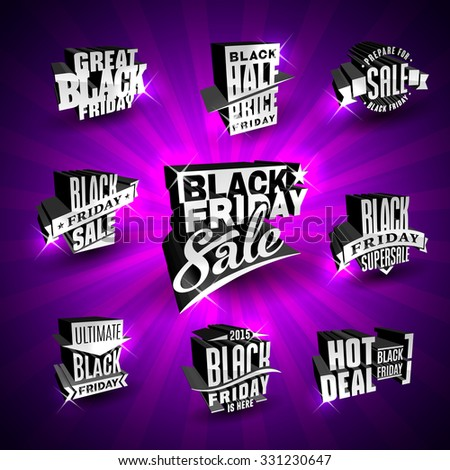 Set of Black Friday vector label templates for advertising sale in shop, supermarket or mall on purple glossy background - stock vector