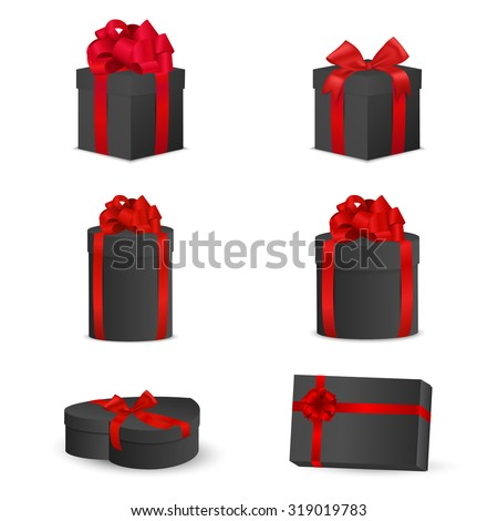 Set of black gift boxes with red bows and ribbons. Vector EPS10 illustration. - stock vector