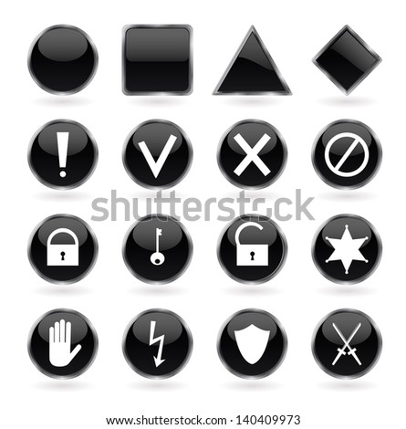 Set of black glossy buttons with security, hazard, warning and prohibiting signs. Vector illustration. - stock vector