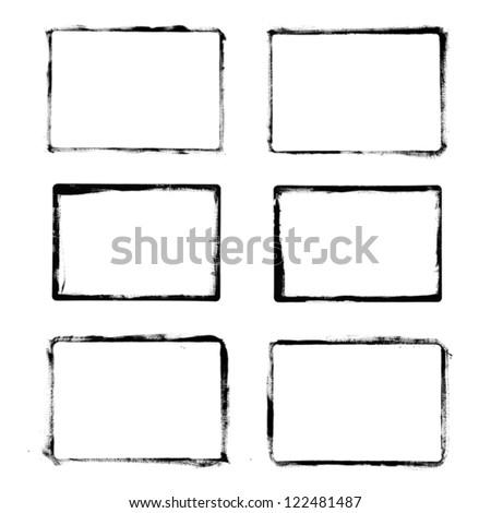 Set of black grunge frames isolated on white background - stock vector