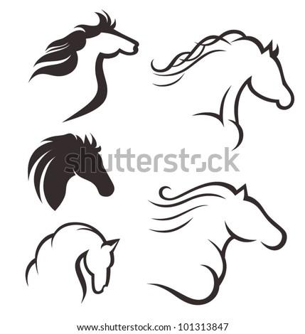 Set of black horses - stock vector