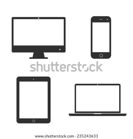 Set of black icons electronic devices with white blank screens. smartphone, tablet, computer monitor and laptop isolated on white background. Vector illustration EPS10 - stock vector