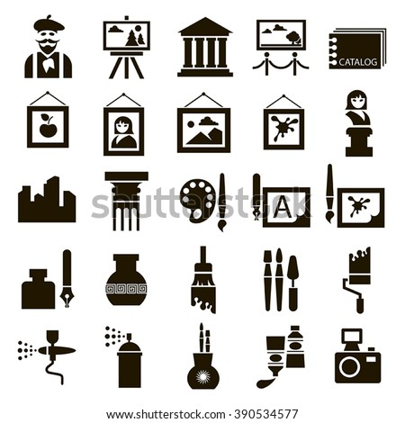 Set of 25 black icons of art on a white background - stock vector