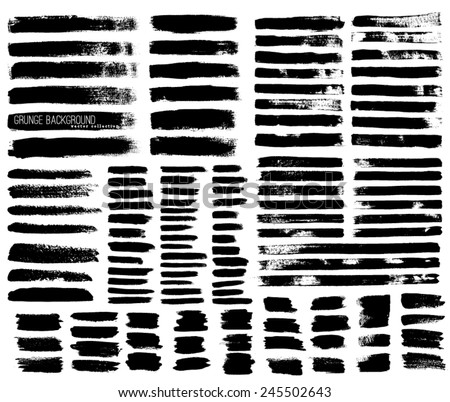Set of Black ink vector stains - stock vector