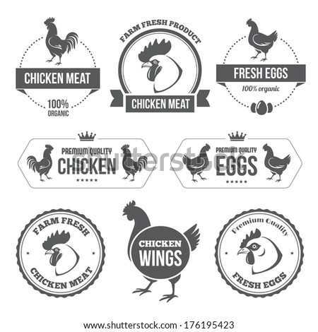Set of black labels and stamps of chicken meat and eggs in vector - stock vector