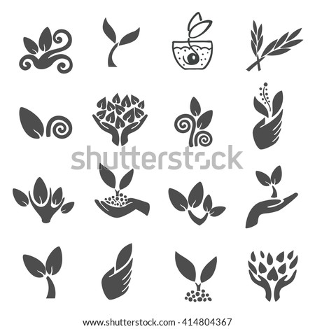 Set of black leaves design elements. Plant and sprout growing icons flat line design vector. - stock vector