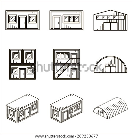 Set of black line vector icons for modular buildings on white background. - stock vector
