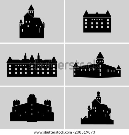 Set of black medieval castle silhouettes. - stock vector