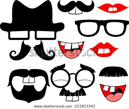 set of black mustaches and lips with big front teeth for funny party props isolated on white background - stock vector