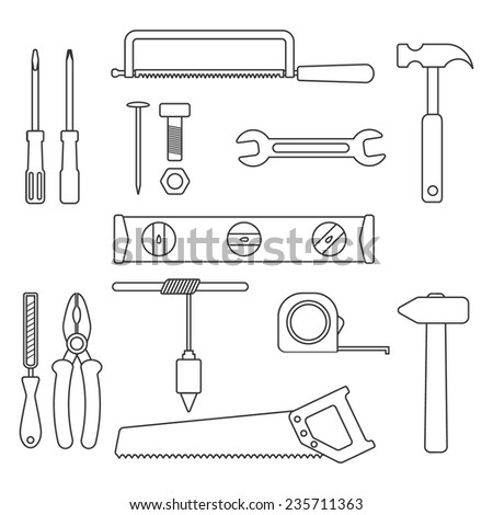 set of black outline tools. isolated on white background. trendy modern thin line design vector illustration - stock vector