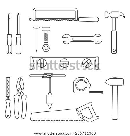 set of black outline tools. isolated on white background. trendy modern vector illustration - stock vector