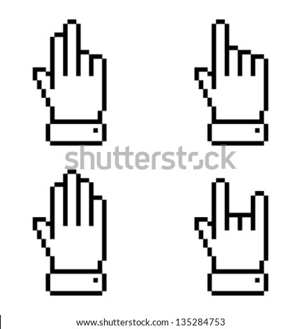 Set of black pixel  hand icons, vector illustration - stock vector