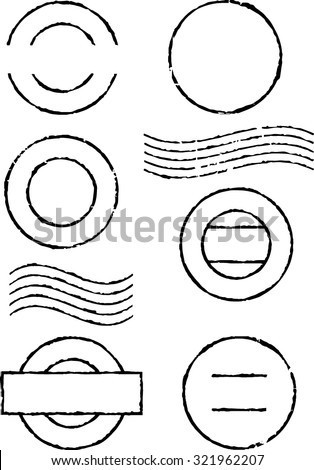 Set of black postal stamps - stock vector