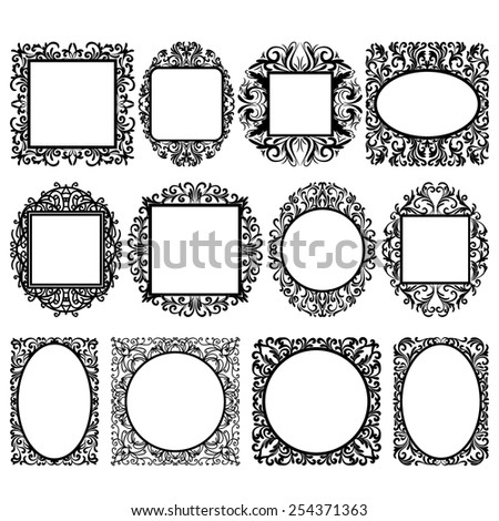 set of black round and square vintage frames, design elements - stock vector