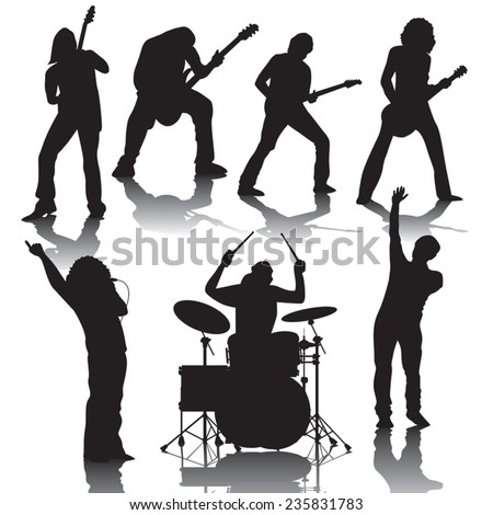 Set of black silhouettes of musicians. Vector illustration - stock vector