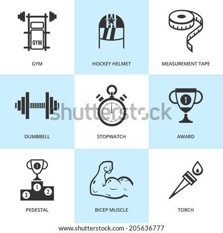 Set of black sports icons. Vector sport equipment in flat simple style. - stock vector