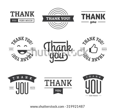 Set of black thank you text designs with ribbons, happy face and thumb up icon. Can be used for labels, emblems, stickers, tags, card, etc. Isolated on white background   - stock vector